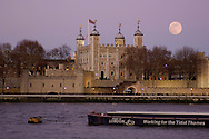 Full moon over Tower Bridge, Thames River, London, Great Britain, UK