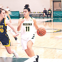 2nd year guard, Carolina Goncalves (11) of the Regina Cougars during the Women's Basketball Home Game on Fri Nov 02 at Centre for Kinesiology,Health and Sport. Credit: Arthur Ward/Arthur Images