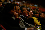 Attendees listen as the Rev. Dr. Matthew C. Harrison, president of The Lutheran Church–Missouri Synod, speaks at the Teatro Nacional during a celebration of the 500th anniversary of the Lutheran Reformation on Thursday, Oct. 5, 2017, in Guatemala City, Guatemala. LCMS Communications/Erik M. Lunsford