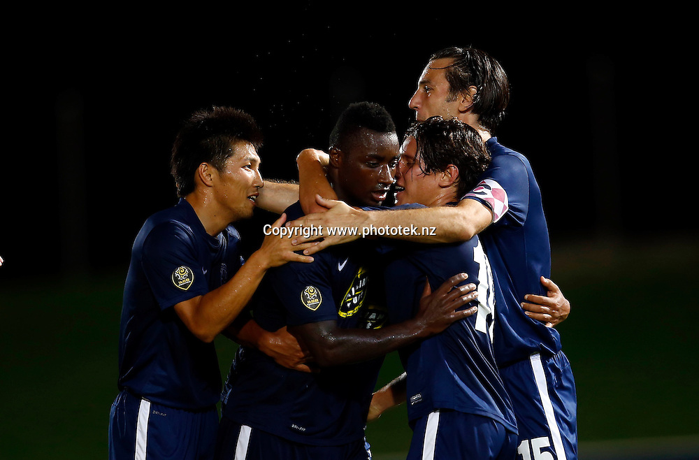 Auckland's Joao Moreira celebrates his 2nd goal. 2015 Fiji Airways OFC Champions League, Amicale FC v Auckland City FC, ANZ Stadium, Suva, Saturday 18th April 2015. Photo: Shane Wenzlick / www.fb.phototek.nz