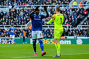 Kurt Zouma (#5) of Everton congratulates Jordan Pickford (#1) of Everton on saving a penalty kick from Matt Ritchie (#11) of Newcastle United during the Premier League match between Newcastle United and Everton at St. James's Park, Newcastle, England on 9 March 2019.