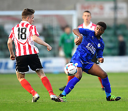 Lincoln City's Max Gowshall vies for possession with Leicester City's Khanya Leshabela<br /> <br /> Lincoln City under 18s Vs Leicester City under 18s at Sincil Bank, Lincoln.<br /> <br /> Picture: Chris Vaughan/Chris Vaughan Photography<br /> <br /> Date: July 28, 2016
