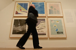 © Licensed to London News Pictures.04/02/2014. London, UK. A visitor walk pass David Hockney's artwork during a press view of the 'Hockney, Printmaker' exhibition in Dulwich Picture Gallery.The gallery celebrates 60 years of the British artist David Hockney's printmaking. Photo credit : Peter Kollanyi/LNP