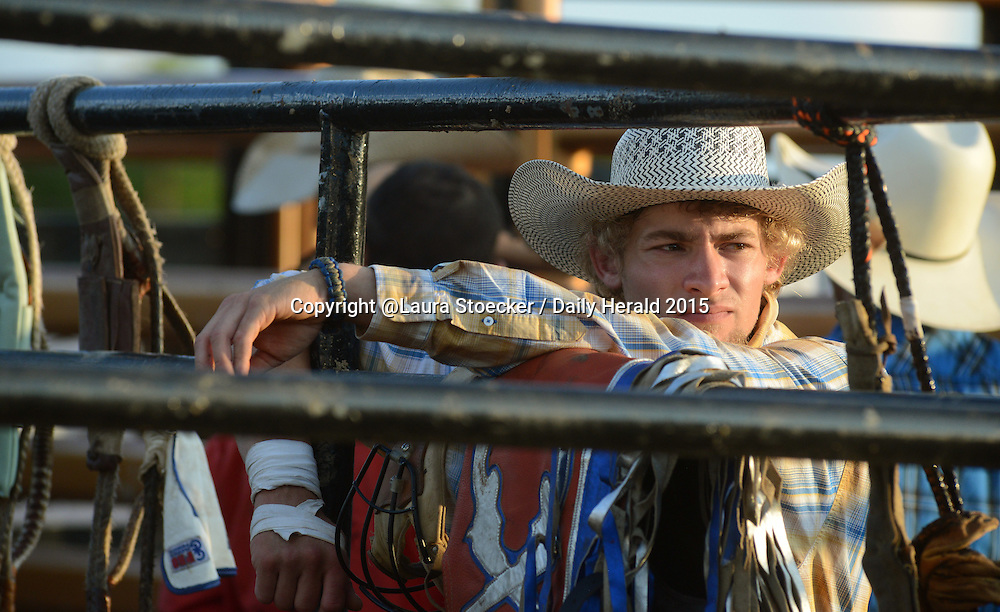 Laura Stoecker/lstoecker@dailyherald.com<br /> Zach Meinsma of Morrison, IL waits for the start of the Professional Championship Bull Riding competition at the Kane County Fair in St. Charles Friday. He has been riding for six years and plans to pursue it as a career.