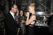 GIANLUCA LONGO; HARRIET QUICK; JANUARY JONES, Donatella Versace celebrates the launch of the CSM 20:20 Fund, at the Connaught Hotel, Mayfair, London, 11th November, 2010. -DO NOT ARCHIVE-© Copyright Photograph by Dafydd Jones. 248 Clapham Rd. London SW9 0PZ. Tel 0207 820 0771. www.dafjones.com.