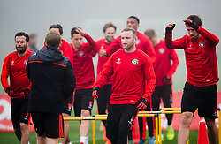 Wayne Rooney of Manchester United leads the warm up - Mandatory byline: Matt McNulty/JMP - 07966386802 - 02/11/2015 - FOOTBALL - Aon Training Complex -Manchester,England - UEFA Champions League