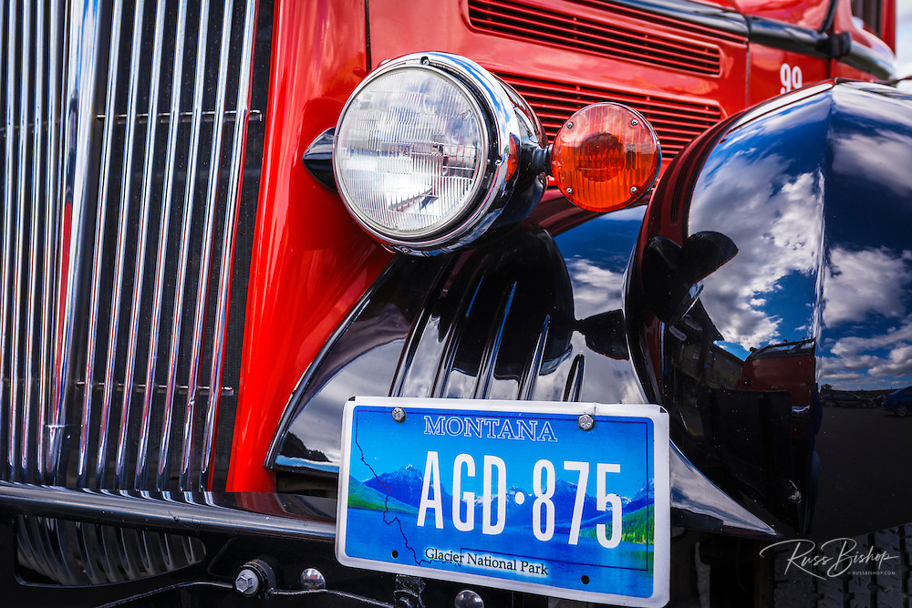 Historic Glacier Red Bus detail, Glacier National Park, Montana USA