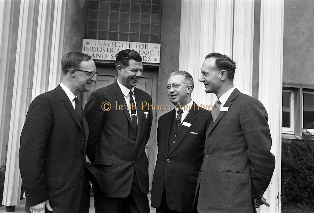 03/04/1963<br /> 04/03/1963<br /> 03 April 1963<br /> Conference at Industrial Research and Standards Building.<br /> Two day conference for the surface coating industry held by the Institute for Industrial Research and Standards in collaboration with the Irish Paint Manufacturers Federation Ltd. and the Irish Branch of the Oil Colour Chemists Association at the Institutes building in Dublin. Picture shows (l-r): Mr. Raymond Smith a lecturer at the conference for Goodglass Wall and Co. Ltd, England; Mr. M.J. Cranley, Director-General of the Institute for Industrial Research; Dr. D.T. Long, Technical Manager, Harrington and Goodglass Wall Ltd., Cork, and member of the board of the Institue and Mr. Noel Morrish, Senior Chemist, Harrington and Goodglass Wall Ltd., Cork.