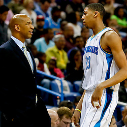 Mar 20, 2013; New Orleans, LA, USA; New Orleans Hornets head coach Monty Williams talks with power forward Anthony Davis (23) during the second quarter of a game against the Boston Celtics at the New Orleans Arena. Mandatory Credit: Derick E. Hingle-USA TODAY Sports