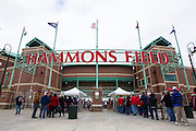 Fans line up outside Hammons Field to receive their 2012 Texas League Championship replica rings prior to a game against the Tulsa Drillers at Hammons Field on May 4, 2013 in Springfield, Missouri. (David Welker/Four Seam Images)