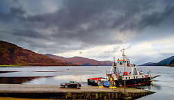 Cars disembarking from the ferry at Corran, Highlands of Scotland<br /> <br /> (c) Andrew Wilson | Edinburgh Elite media