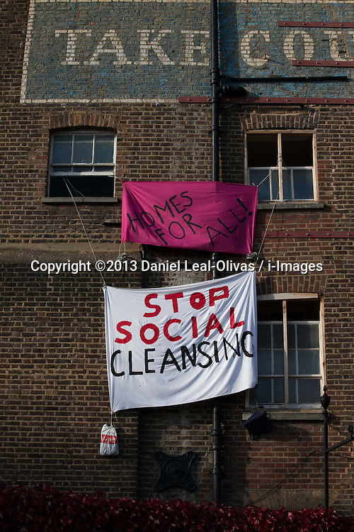 Borough's &pound;3m sold council house occupied by protesters. <br /> Housing Action Southwark and Lambeth said it was staging a political protest. Protesters have moved into a south London council house that was sold at auction for almost &pound;3 million on Monday 28th October 2013.<br /> London, United Kingdom, Wednesday, 30th October 2013. Picture by Daniel Leal-Olivas / i-Images