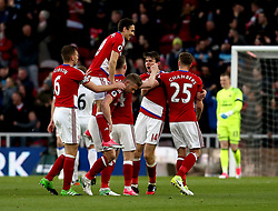 Middlesbrough celebrate Marten de Roon scoring a goal - Mandatory by-line: Robbie Stephenson/JMP - 26/04/2017 - FOOTBALL - Riverside Stadium - Middlesbrough, England - Middlesbrough v Sunderland - Premier League