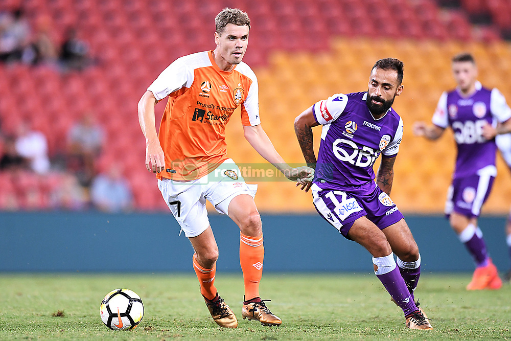 January 18, 2018 - Brisbane, QUEENSLAND, AUSTRALIA - Thomas Kristensen of the Roar (#7, left) and Diego Castro of the Glory (#17) compete for the ball during the round seventeen Hyundai A-League match between the Brisbane Roar and the Perth Glory at Suncorp Stadium on January 18, 2018 in Brisbane, Australia. (Credit Image: © Albert Perez via ZUMA Wire)