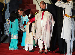 The Duke and Duchess of Cambridge arrive at the Pakistani Air Force Base Nur Khan, near Islamabad, on day one of the royal visit to Pakistan.