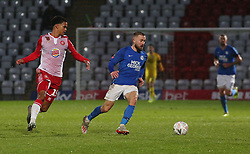 Dan Butler of Peterborough United in action with Terence Vancooten of Stevenage - Mandatory by-line: Joe Dent/JMP - 09/11/2019 - FOOTBALL - Lamex Stadium - Stevenage, England - Stevenage v Peterborough United - Emirates FA Cup first round