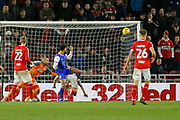 Ipswich Town midfielder Jordan Roberts (19) heads wide during the EFL Sky Bet Championship match between Middlesbrough and Ipswich Town at the Riverside Stadium, Middlesbrough, England on 29 December 2018.