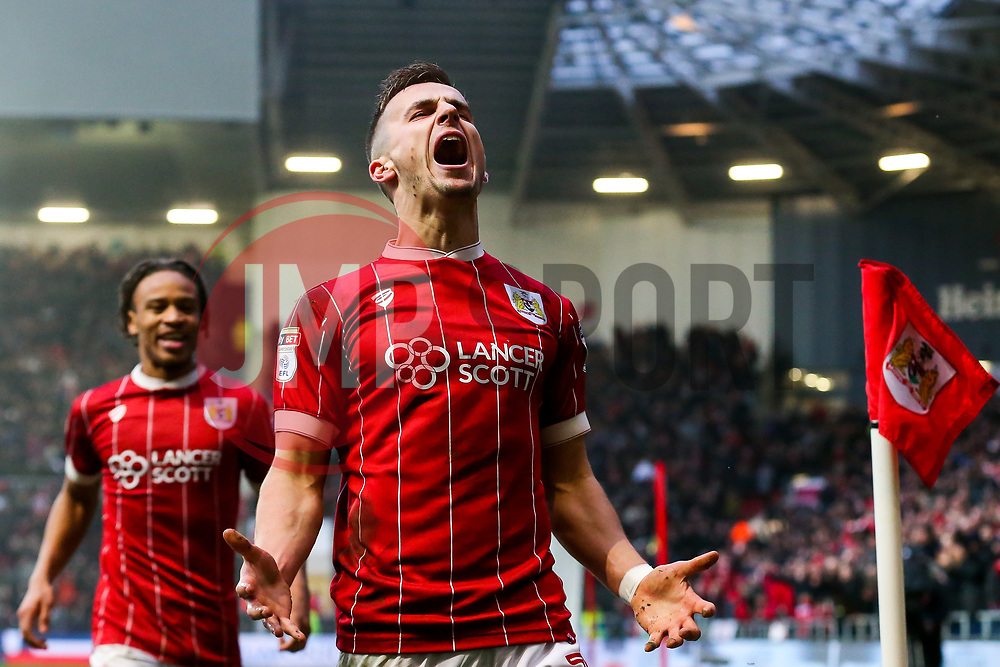 Joe Bryan of Bristol City celebrates with Bobby Reid after scoring a goal to make it 2-0 - Rogan/JMP - 27/01/2018 - Ashton Gate Stadium - Bristol, England - Bristol City v Queens Park Rangers - Sky Bet Championship.