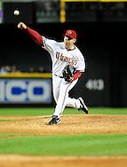 May 19 2011; Phoenix, AZ, USA; Arizona Diamondbacks J.J. Putz pitches during the ninth inning against the Atlanta Braves at Chase Field. The Diamondbacks defeated the Braves 2-1. Mandatory Credit: Jennifer Stewart-US PRESSWIRE