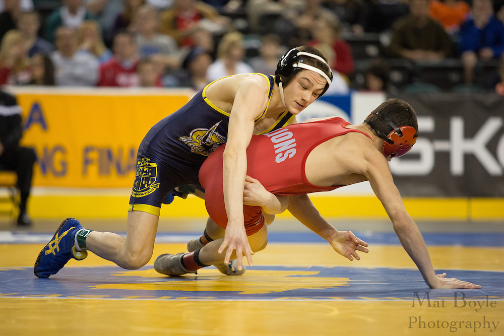 Patrick D'Arcy of Holy Spirit defeats .Mike Russo of Jackson Liberty in the 106lb 3rd place match in the NJ State Wrestling Tournament at Boardwalk Hall in Atlantic CIty, NJ on Sunday March 10, 2013. (photo / Mat Boyle)