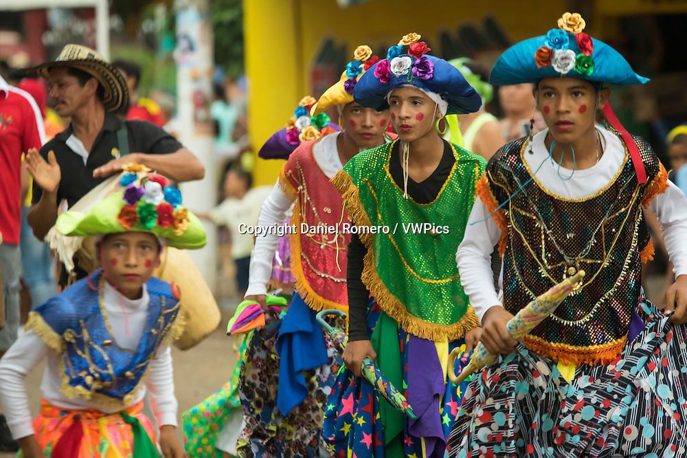 Boys dancing to folk dance Farotas Talaigua, XXIX Meeting of the Amphibious Culture,  municipality of Talaigua Nuevo, department of Bolivar, Colombia.