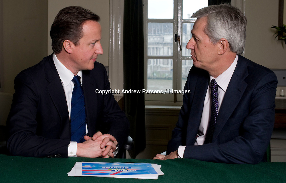 Leader of the Conservative Party David Cameron with Nick de Bois, Member of Parliament for Enfield North in his office in Norman Shaw South, January 18, 2010. Photo By Andrew Parsons / i-Images.