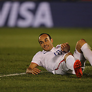 Landon Donovan, USA, reacts after hitting the post with a shot during his farewell match during the USA Vs Ecuador International match at Rentschler Field, Hartford, Connecticut. USA. 10th October 2014. Photo Tim Clayton