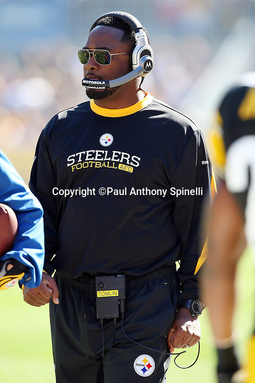 Pittsburgh Steelers Head Coach Mike Tomlin looks on during the NFL football game against the Minnesota Vikings, October 25, 2009 in Pittsburgh, Pennsylvania. The Steelers won the game 27-17. (©Paul Anthony Spinelli)
