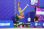 Ashram Linoy from Israel during the final at clubs in Pesaro World Cup 15 April, 2018. She is known for her and very high jumps. Her targhet is to win Israel's first Olympic rhythmic gymnastics medal at the 2020 Olympic Games in Tokyo.
