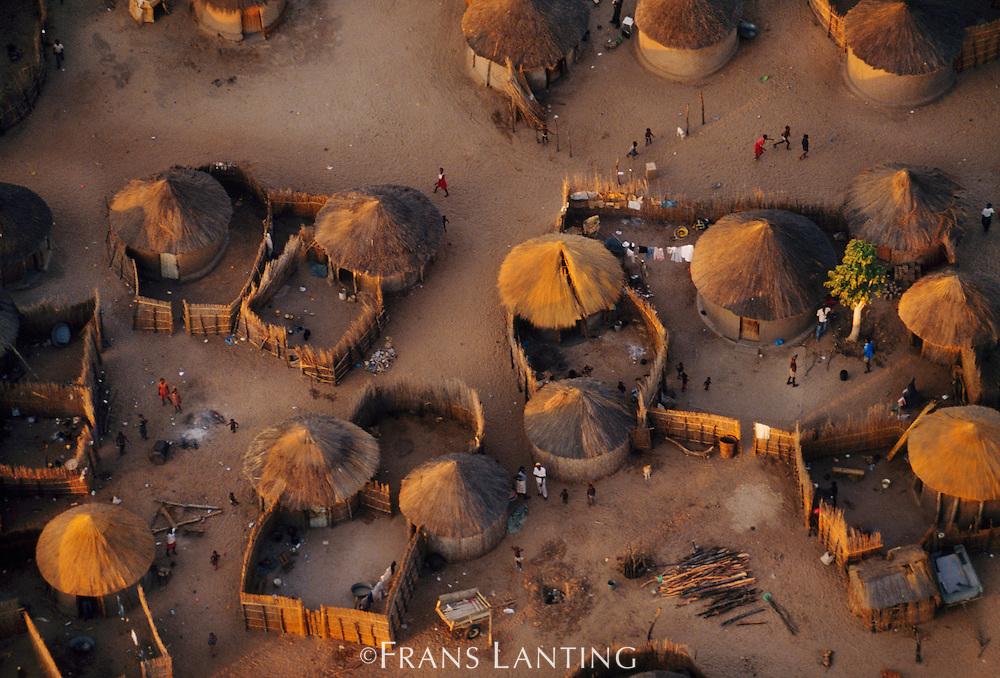 Hambukushu village (aerial), Okavango Delta, Botswana