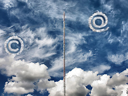 Cell phone mast. Antenna for transmitting signal for electronic equipment, including mobile phones. Cloud computing. At and copyright symbol.