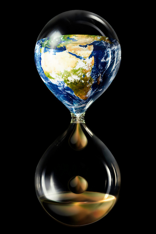 Digital illustration of time running out as Earth's petroleum resources drain the environment.