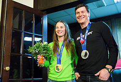 Tina Maze of Slovenia, 2-times gold winner and Ivica Kostelic of Croatia, silver medallist during reception at arrival from Sochi Winter Olympic Games 2014 on February 23, 2014 in Airport Zagreb, Croatia. Photo by Vid Ponikvar / Sportida