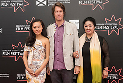 Photo-opportunity for The Receptionist directed by Jenny Lu at the Edinburgh International Film Festival<br /> <br /> Pictured: Shuang Teng, Peter J Kirby (Producer), Sophie Gopsill