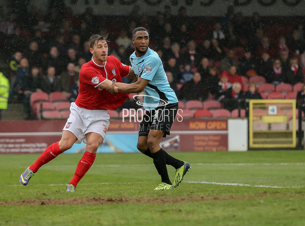 Jake Hyde during the Sky Bet League 2 match between York City and Cheltenham Town at Bootham Crescent, York, England on 3 April 2015. Photo by Simon Davies.