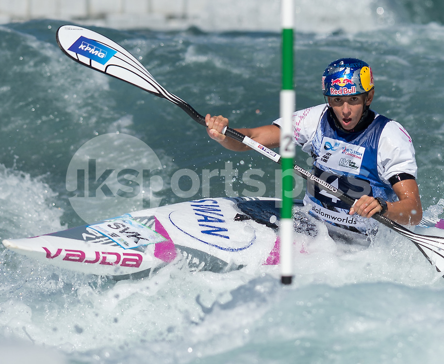 Jana Dukatova of Slovakia competes in the K1 during the ICF Canoe Slalom World Championship 2015 at Lee Valley White Water Centre, London, United Kingdom on 19 September 2015. Photo by Vince  Mignott.