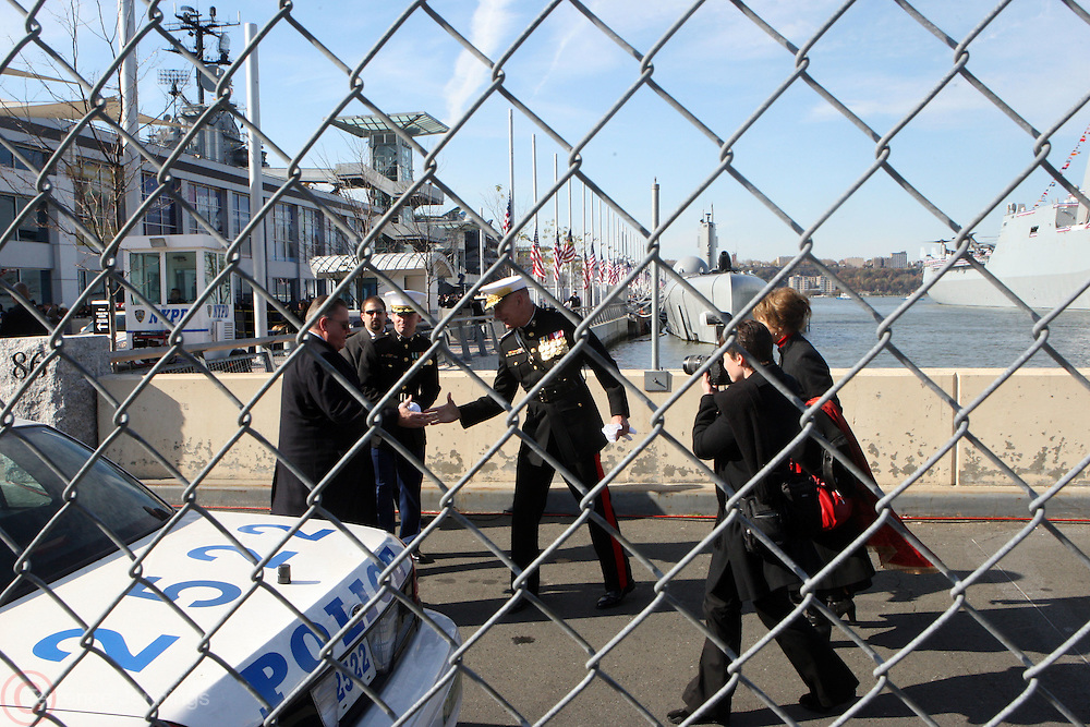 James T. Conway, Commandant U.S. Marine Corp at the officilal commissioning for The USS New York, whose bow is designed with 7.5 tons of steel from the World Trade Center. It is a San Antonio class amphibious transport dock ship, Ceremony was held at Pier 86 on Novemeber 7, 2009 in New York City