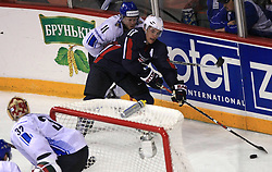 Saku Koivu of Finland  vs Zach Parise (17) of USA at ice-hockey match Finland vs USA at Qualifying round Group F of IIHF WC 2008 in Halifax, on May 11, 2008 in Metro Center, Halifax, Nova Scotia, Canada. (Photo by Vid Ponikvar / Sportal Images)