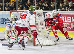 22.03.2019, Stadthalle, Klagenfurt, AUT, EBEL, EC KAC vs HCB Suedtirol Alperia, Viertelfinale, 5. Spiel, im Bild Anton BERNARD (HCB Suedtirol Alperia, #18), Matti KUPARINEN (HCB Suedtirol Alperia, #22), Siim LIIVIK (EC KAC, #72), Jacob SMITH (HCB Suedtirol Alperia, #1) // during the Erste Bank Icehockey 5th quarterfinal match between EC KAC and HCB Suedtirol Alperia at the Stadthalle in Klagenfurt, Austria on 2019/03/22. EXPA Pictures © 2019, PhotoCredit: EXPA/ Gert Steinthaler