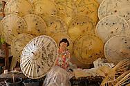 Umbrella assemble at Factory, along Hwy 1006, Chiang Mai, Thailand