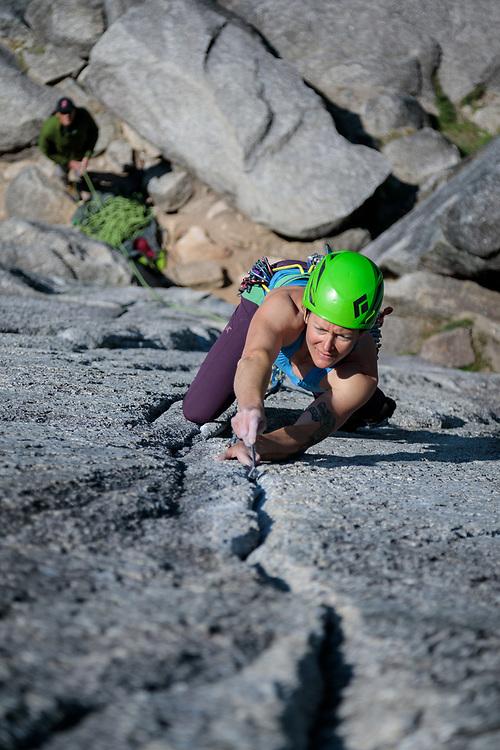 Marsha Hamilton climbing Flying Circus in Squamish, BC