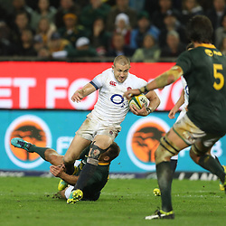 Schalk Brits of South Africa tackling Mike Brown of England during the 2018 Castle Lager Incoming Series 3rd Test match between South Africa and England at Newlands Rugby Stadium,Cape Town,South Africa. 23,06,2018 Photo by (Steve Haag JMP)