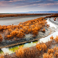 Curved stream in Atanasovsko lake at sunset