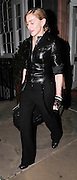 20.OCTOBER.2009. LONDON<br /> <br /> **THESE PICTURES ARE EXCLUSIVE**<br /> <br /> QUEEN OF POP MADONNA LEAVING HARRY'S BAR IN MAYFAIR AT 11.30PM AFTER EATING OUT WITH A MYSTERY GUY LOOKING VERY GAUNT WITH VEINS POPPING OUT OF HER SKINNY ARMS. SHE IS WEARING LEATHER FINGERLESS GLOVES<br /> <br /> BYLINE: EDBIMAGEARCHIVE.COM<br /> <br /> *THIS IMAGE IS STRICTLY FOR UK NEWSPAPERS AND MAGAZINES ONLY*<br /> *FOR WORLD WIDE SALES AND WEB USE PLEASE CONTACT EDBIMAGEARCHIVE - 0208 954 5968*