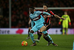 Harry Arter of Bournemouth tackles Pedro Mba Obiang of West Ham United - Mandatory by-line: Jason Brown/JMP - Mobile 07966 386802 12/01/2016 - SPORT - FOOTBALL - Bournemouth, Vitality Stadium - AFC Bournemouth v West Ham United - Barclays Premier League