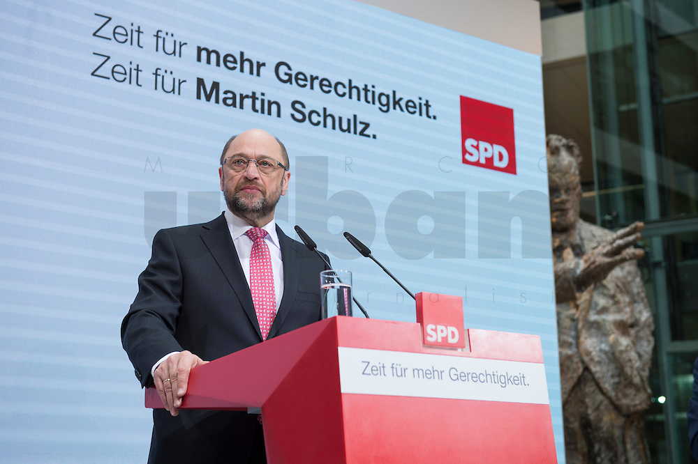 30 JAN 2017, BERLIN/GERMANY:<br /> Martin Schulz, SPD, Kanzlerkandidat und designierter Parteivorsitzender, waehrend einer Pressekonferenz nach der Klausurtagung der SPD Spitze, Willy-Brandt-Haus<br /> IMAGE: 20170130-01-006