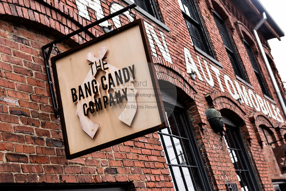 Bang Candy Company sign at Marathon Village in Nashville, TN.