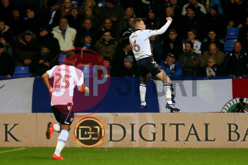 Josh Vela of Bolton Wanderers celebrates after scoring his sides first goal  - Mandatory by-line: Matt McNulty/JMP - 28/02/2017 - FOOTBALL - Macron Stadium - Bolton, England - Bolton Wanderers v Bristol Rovers - Sky Bet League One