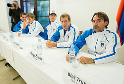 Players of Slovenia during draw of Davis cup Slovenia vs South Africa competition on September 12, 2013 in City hall, Ljubljana, Slovenia. (Photo by Vid Ponikvar / Sportida.com)