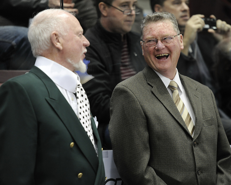Team Cherry coaches Don Cherry (left) and Brian Kilrea in the Home Hardware CHL Top Prospects Skills Competition in Windsor, ON on Tuesday. Photo by Aaron Bell/OHL Images.